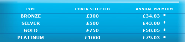 COVER SELECTED - BRONZE £300	£34.83 SILVER	£500	£43.08 GOLD	£750	£50.05